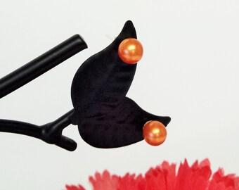 Autumn Orange 6MM Faux Pearl Stud Post Earrings Wedding, Bridal, Bridesmaid, Flowergirl or Easter