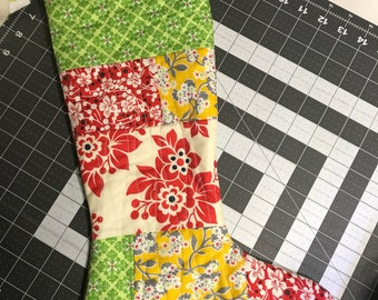 Christmas stocking, quilted Christmas stocking, floral christmas stocking, scrappy christmas stocking
