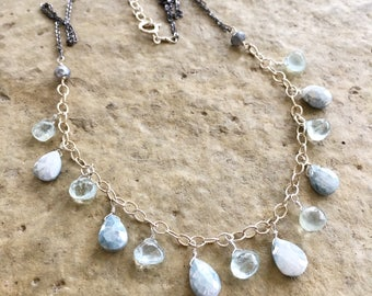 Spring Rain - Ice Blue Silverite Drop and Aquamarine Necklace Only One Available Aquamarine Gemstone Necklace Blue Jewelry Delicate Jewelry