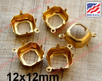 12x12mm Raw Brass Octagon Prong Setting Open Back 1 Ring 2 Ring Made in the USA - 6pcs