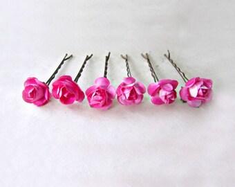Rose Hair Pins, Hot Pink Hair Clips, Paper Rose Bobby Pins, Bright Pink Flower Hair Pins, Small Hair Flowers, Fuschia Bridesmaids Hair Pins
