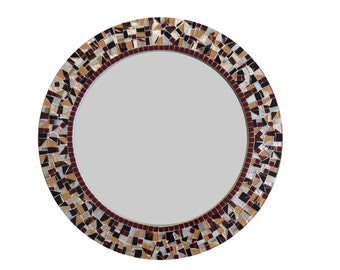 Round Wall Mirror | Earth Tones | Brown, Crimson, White |  Decorative Mirror