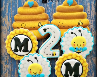 Bumble Bee Cookies - Birthday Cookies - Bee Hive Cookies - Boy Blue Cookies - Custom Decorated Cookies