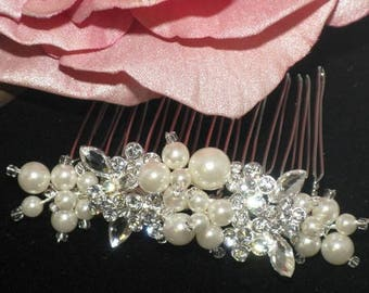 FREE SHIPPING - pearl wedding comb, rhinestone pearl wedding comb, wedding comb, ivory pearl comb, bridal hair comb, wedding hair comb