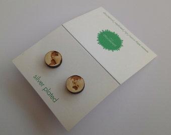 Earth Studs, Laser Cut Wooden Earrings