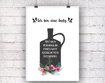 I am a lady art print gift family art print, fine art print