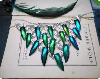 TAKE FLIGHT: Desert Edition. Genuine Egyptian Elytra Beetle wing Cascading Bib necklace.