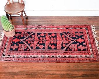 Vintage Kilim Wool Rug, 3 x 6 Turkish Rug, Boho Rug, Kilim Rug Runner, Small Persian Rug Runner, Oushak Area Rug, Turkish Kilim Area Rug