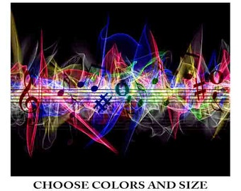 Music art print, music poster, music decor, music gift, abstract, music art,