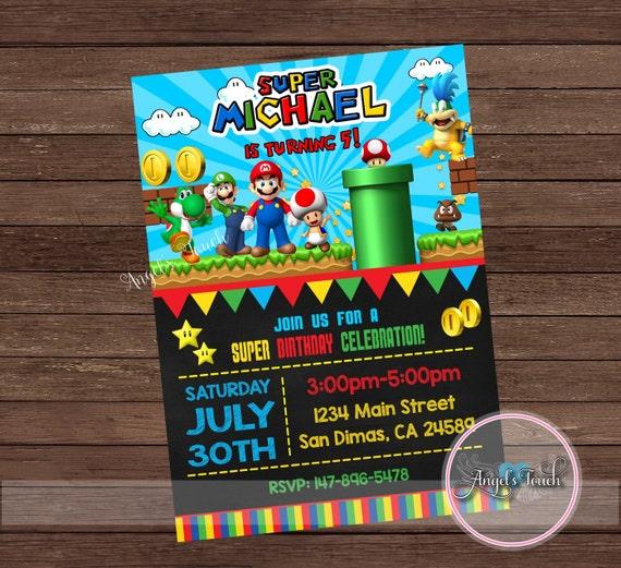 Super Mario Party Invitation Super Mario Birthday Invitation Super