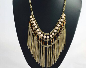 Boho Necklace, Statement necklace, Tribal necklace, beaded Necklace,choker necklace, multi layer necklace,Waterfall Necklace