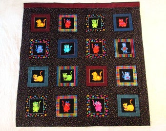 Finished Quilt Top, CAT Quilt Kit, Bright Colors, DIY All Cotton Lap Quilt Size, FREE Shipping U.S.