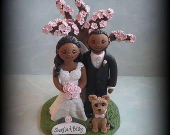 Wedding Cake Topper, Custom Cake Topper, Bride and Groom with Pet, Tree, Yorkie, Personalized, Polymer Clay, Keepsake