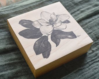 Magnolia Blossom Wood Block Print - Art on Wood - Pen and Ink Drawing - Floral Art - Nature Collection - Nature Lover Gift - Wood Ornament