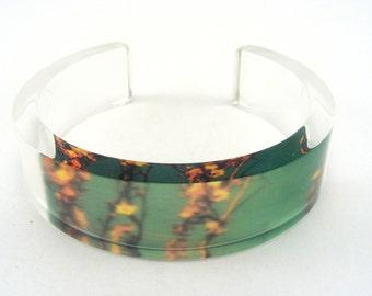 Green acrylic Bangle - Floral bangle - Plexi Glass cuff - green bracelet - blossom bangle - nature cuff - green yellow bracelet