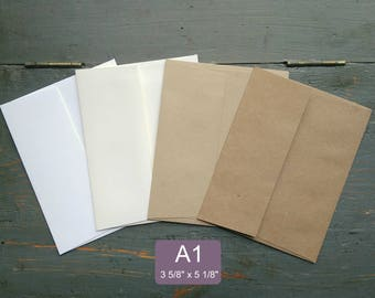 """100 A1 Envelopes, RSVP or Note Card Envelopes, 100% Recycled, True Size: 3 5/8"""" x 5 1/8"""", white, natural white, light or kraft brown"""