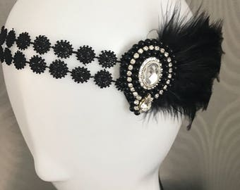 Great Gatsby Headpiece - 1920s Headpiece , Flapper headdress - 1920s - Bridal headband - Gatsby headband - Art Deco headpiece
