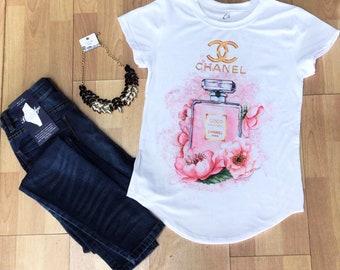 perfume channel flowers Paris woman t-shirt Statement Tee,Graphic Tee, Statement T-shirt,Graphic Tshirt