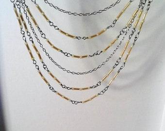 Silver / yellow hair chain