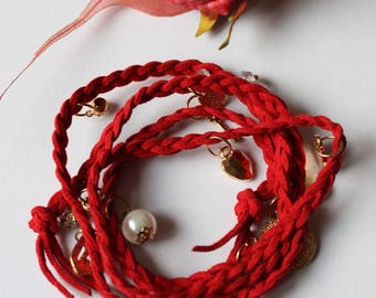 Red braided suede charm bracelet