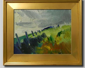 Landscape Painting, Impressionist Oil, Lime Landscape, Hills Field Fence Painting, Contemporary Green Painting, Plein Air Abstract Painting
