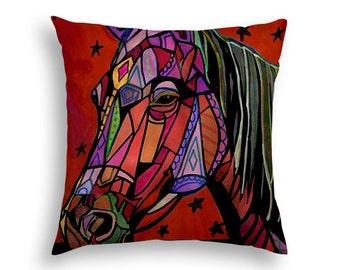 50% SALE- Horse Art Pillow - Horse Lovers Gift Throw Pillow - Folk Art by Heather Galler  (HG517)