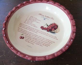 Vintage Ceramic Pie Plate with Recipe Cherry Lattice Pie Baking Kitchen Chef Cooking Dessert