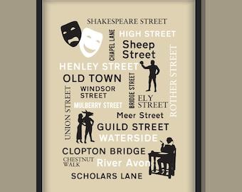 STRATFORD UPON AVON - A4   A3 Fine Art Typographic Giclee Poster Print Hand Minimalist, English Street Names Shakespeare