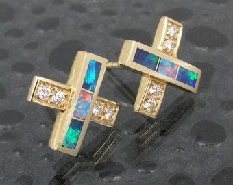 Australian opal earrings in 14k gold with diamond accents