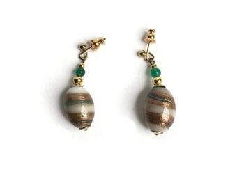 Green Agate Earrings   Shimmery Drop Earrings For Pierced Ears   Unused 80's Vintage Earrings   Large Glass Bead And Small Agate Bead