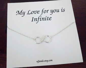 Love Infinity Charm Sterling Silver Bracelet ~Personalized Jewelry Card for Best Friend, Sister, Bridal Party, Mom, Daughter, Graduation