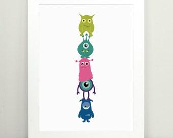 Childrens Wall Art, Monster Art, Childrens Room Decor, Monster Totem