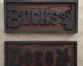 Buck & Doe Wood Restroom Signs