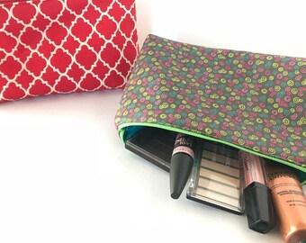 Cosmetic bag, makeup bag, travel accessory bag, makeup pouch, zipper bag, red bag