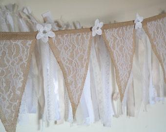 Burlap Banner, Lace Banner, Rustic Wedding Garland, Burlap and Lace Banner, Rustic Bunting, Wedding Decoration, Burlap Wedding