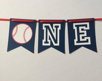 Baseball ONE banner, Baseball High Chair banner, Baseball birthday, Baseball birthday decorations, baseball, first birthday, one, sports