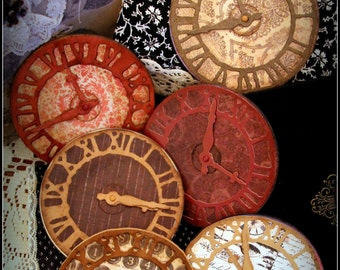 Sturdy Vintage Style Finished Reds Browns Clock Faces for Mixed Media Canvas Scrapbooking Cardmaking and More!