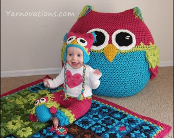 Owl Set - CROCHET PATTERN - Bean Bag Chair, Hats, Pants, Blanket & Stuffed Animal
