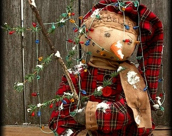 Primitive Snowman Stump Doll Tangled in Lights Pattern