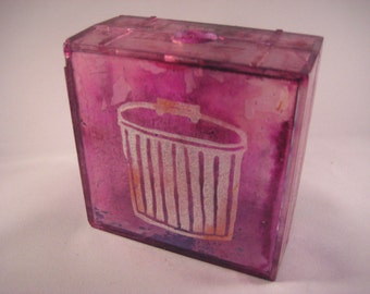Trash Can Linocut on Alcohol Ink Colored Plastic Box Wall Art