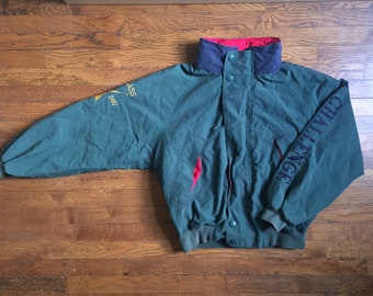 Vintage Nautica Challenge J-Class Sleeve Spell-out Hooded Bomber Jacket