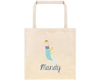 Mermaid Personalized School Tote Bag // Custom Mermaid Book Bag // Mermaid Beach Nautical  Personalized Tote Bag