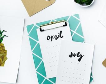 2017 mini desk calendar // minimalist desk calendar, minimalist desk calendar, mini calendar print, 2017 hand lettered calendar, 2017 print