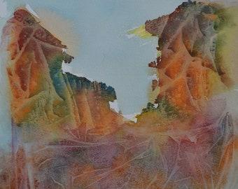 The Secret Mountain, an original watercolour painting by Alfredo Mella
