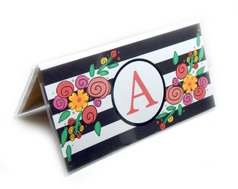Personalized Checkbook cover - Modern Floral Stripe - choose your initial to customize your check book holder - black and white stripes