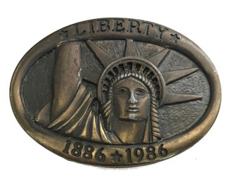 Vintage Statue of Liberty 1886 1986 Belt Buckle - New York - Commemorative - State - Woman Power Crown NYC Manhattan - Fathers Day Gift Idea