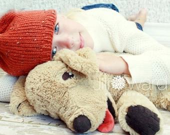 knit  baby hat pumpkin tweed size 6 - 12 months