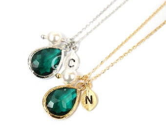 May birthstone necklace, Bridesmaid gift, Personalized emerald necklace, Birthstone jewelry, Birthday gift, Wedding jewelry, May necklace