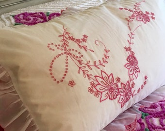Fancy Pillowcase - Show Case - Sheer Organdy Organza - Cottage Chic - Pink Pillow Case
