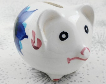 Small Piggy Bank - Cute Piggy Bank - Pig with Flowers - Vintage Money Box - 18th Birthday Gift - Gift for Women - Vintage Piggy Bank